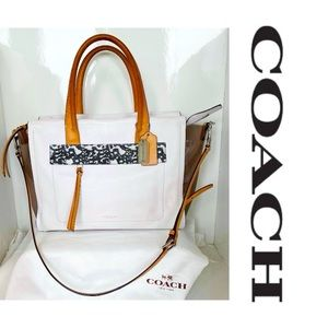 Rare Coach White Leather with Clear Sides Bag
